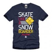 Skate Like a Snowboarder Tee blue